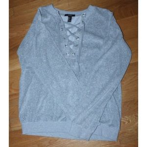 warm grey lace tie up sweater
